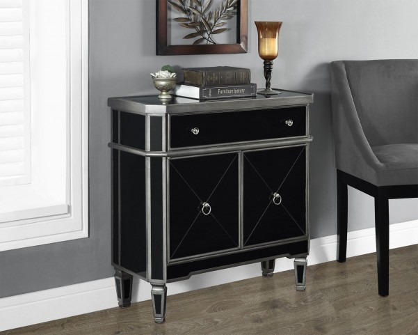 """Brushed Charcoal gray/Black Mirrored 32"""" Accent Table"""