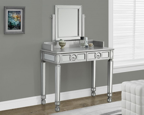 Brushed Silver 2 Drawers Mirrored Vanity