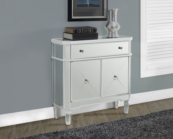 "Satin White 32"" Mirrored Accent Table"