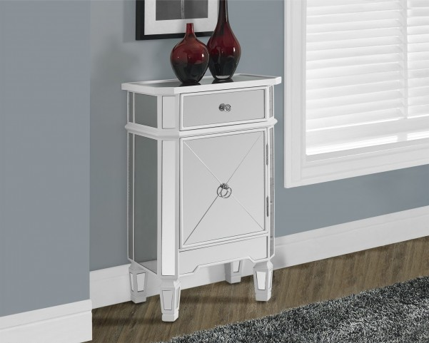 Satin White 1 Drawer Mirrored Accent Cabinet