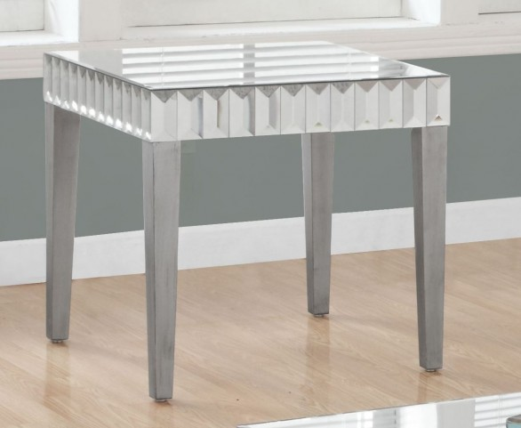 Brushed Silver End Table