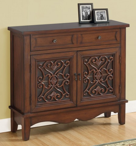 Dark Walnut Glass Accent Chest