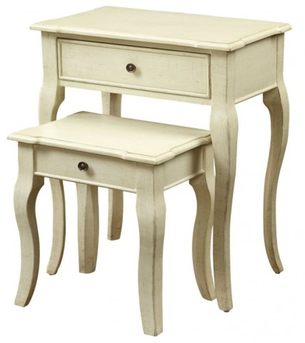 3876 Antique White 2Pcs Nesting Tables