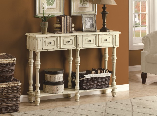 "3886 Antique White 48"" Traditional Console Table"