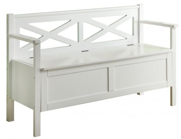 4504 White Solid Wood Storage Bench