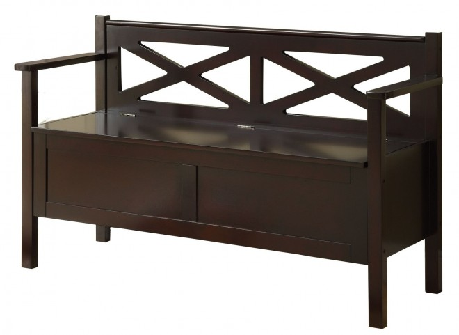 4505 Cappuccino Solid Wood Storage Bench