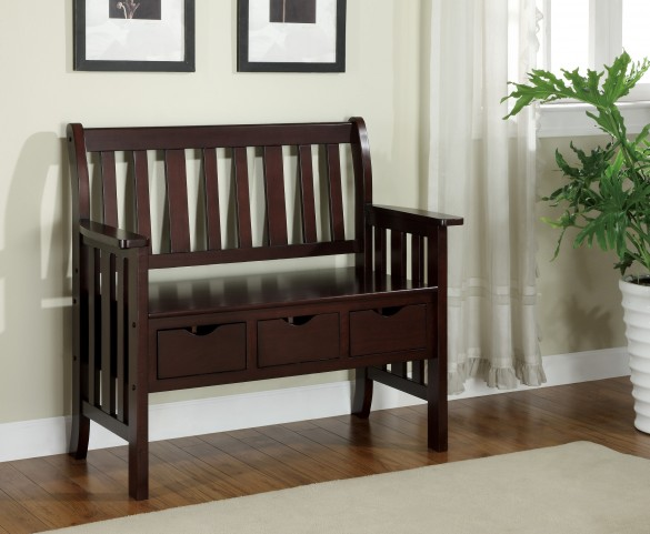 4513 Cappuccino 3 Drawer Storage Bench