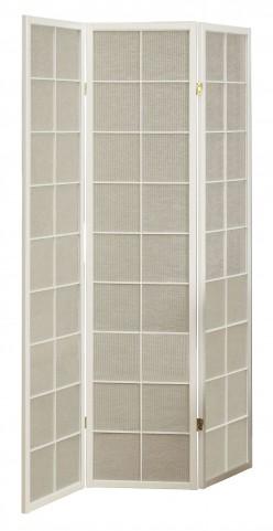 4633 White Framed 3 Panel Folding Screen
