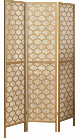 4638 Gold Frame 3 Panel Folding Screen