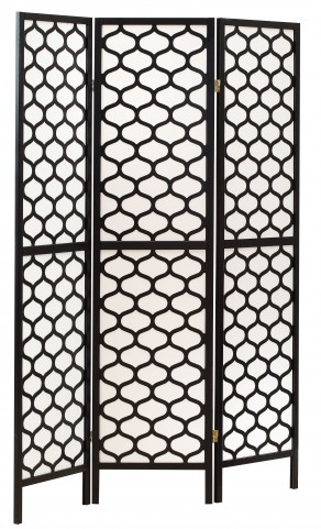 4639 Black Frame 3 Panel Folding Screen