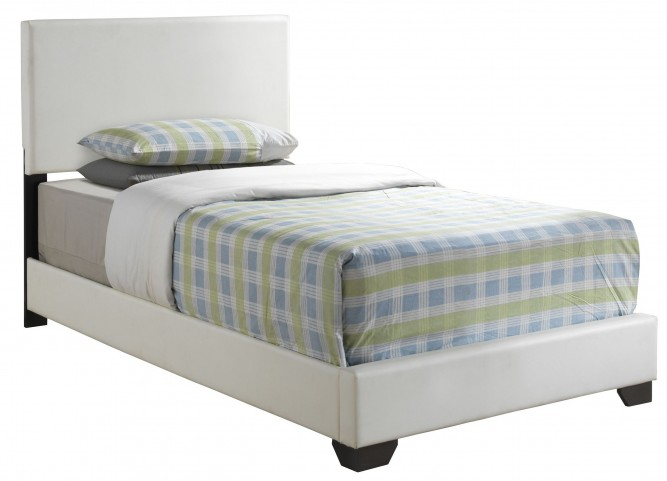 5907T White Leather-Look Twin Size Bed