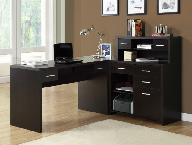 7018 Cappuccino L Shaped Home Office Desk