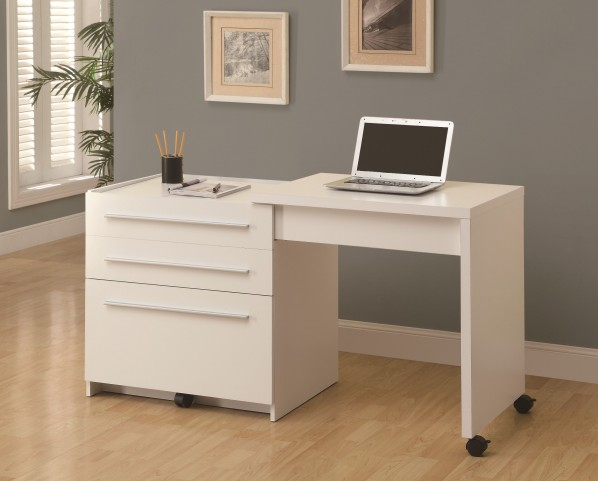 7031 White Slide Out Desk