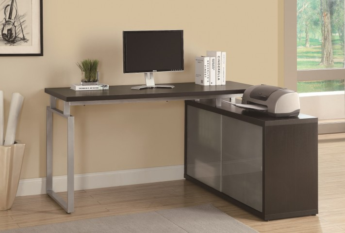 7035 Cappuccino Shaped Desk