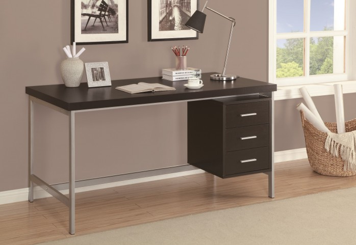 "7045 Cappuccino Silver Metal 60"" Office Desk"