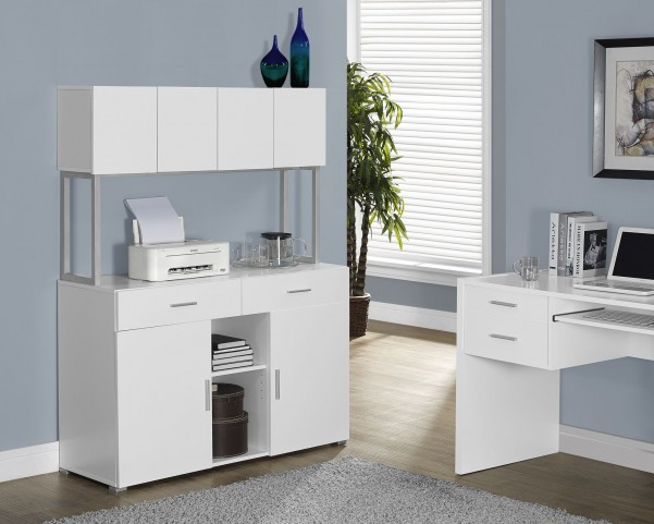 White Hollow-Core Office Storage Credenza