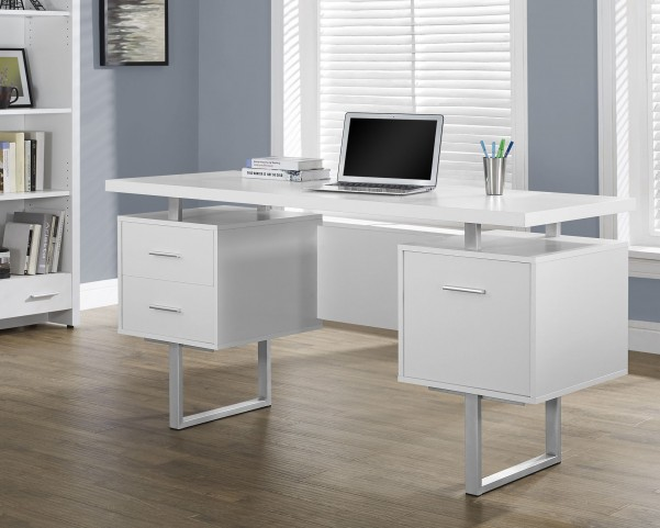 White Hollow-Core/Silver Metal Office Desk