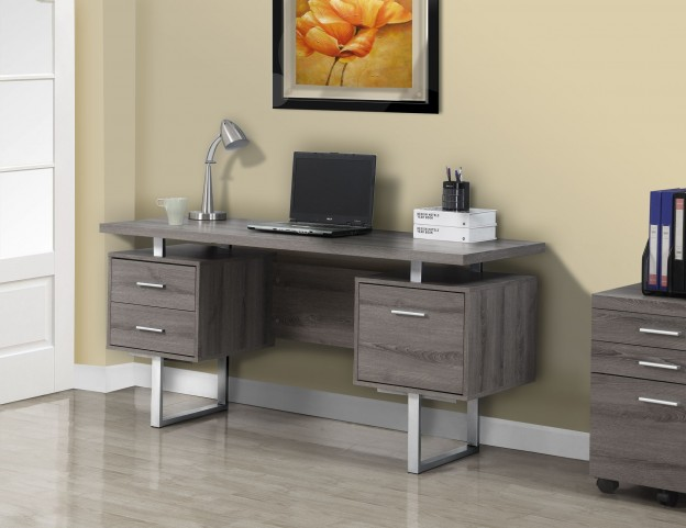 Dark Taupe Silver Metal Office Desk
