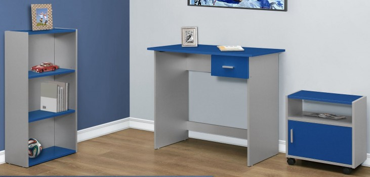 Blue and Silver 3 piece Home Office Set
