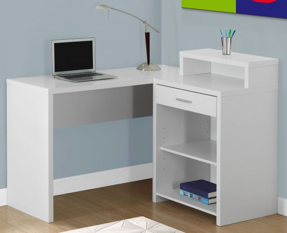 White Corner Storage Computer Desk
