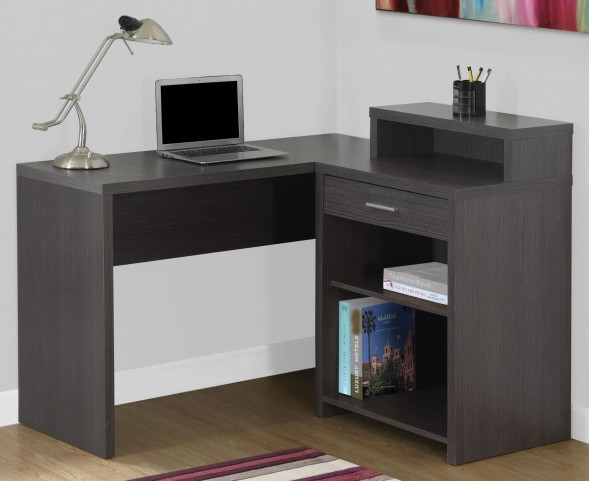 Gray Corner Storage Computer Desk