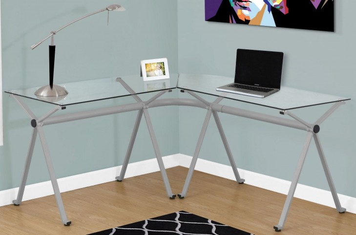 Silver Tempered Glass Computer Desk