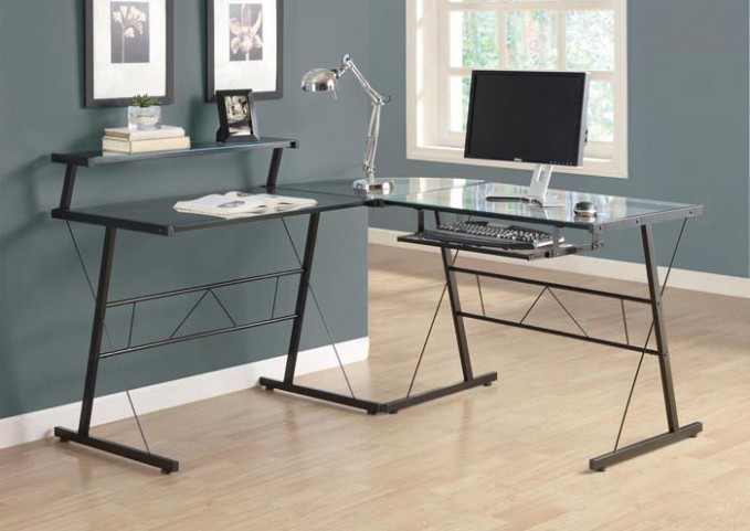 7172 Black Metal L Shaped Computer Desk
