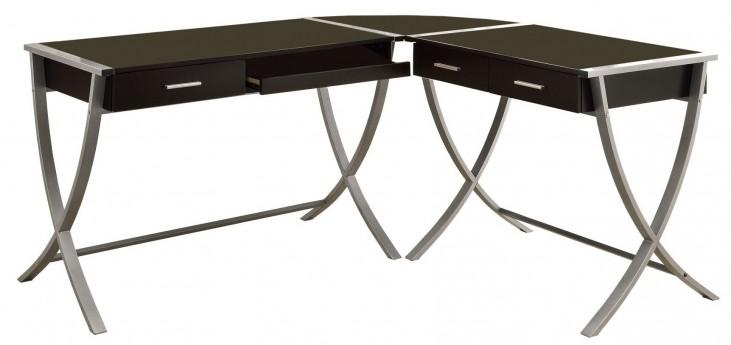 7176 Cappuccino Silver Metal 3Pcs Corner Desk