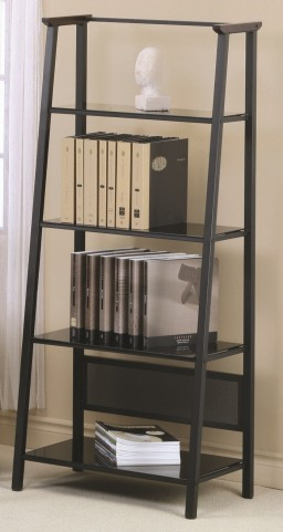 "7179 Dark Walnut Accent / Black Metal 67"" Bookcase"