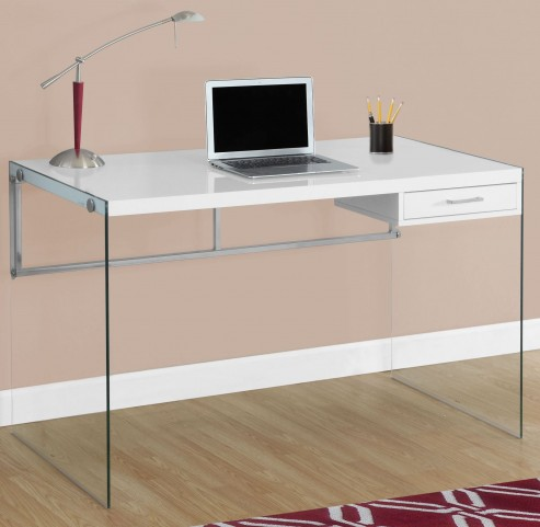 "Glossy White Tempered Glass 48"" Computer Desk"