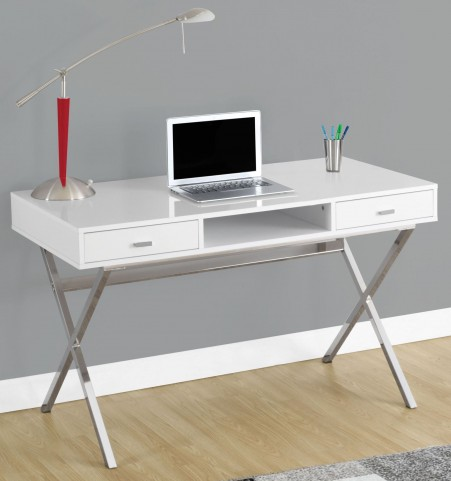"Glossy White 48"" Storage Computer Desk"