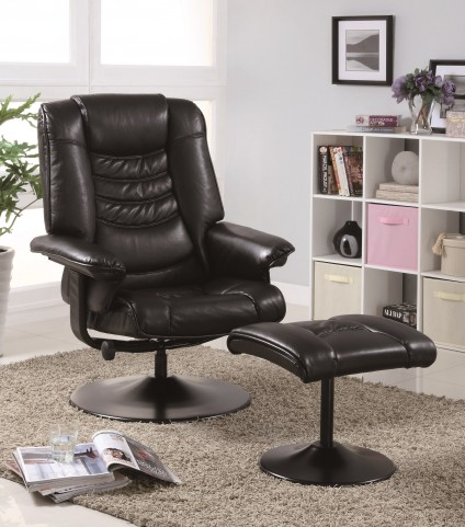 7251 Black Leather-Look / Metal Swivel Recliner With Ottoman