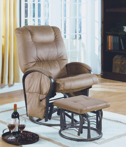7275 Tan Padded Micro / Metal Swivel Rocker Recliner With Ottoman