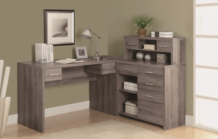 7318 Dark Taupe L Shaped Home Office Desk