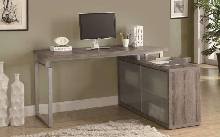 7335 Dark Taupe L Shaped Desk