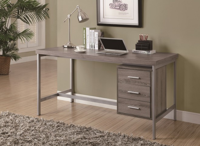 "7345 Dark Taupe Silver Metal 60"" Office Desk"
