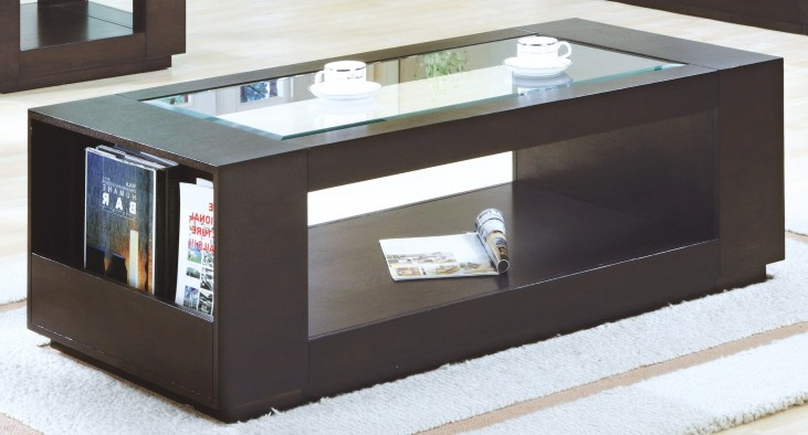 7810C Cappuccino Cocktail Table With Glass Insert