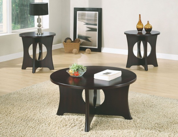 3 Piece Dark Espresso Top Table Set