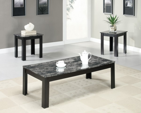 7843P Black / Grey Marble-Look Top 3Pcs Table Set