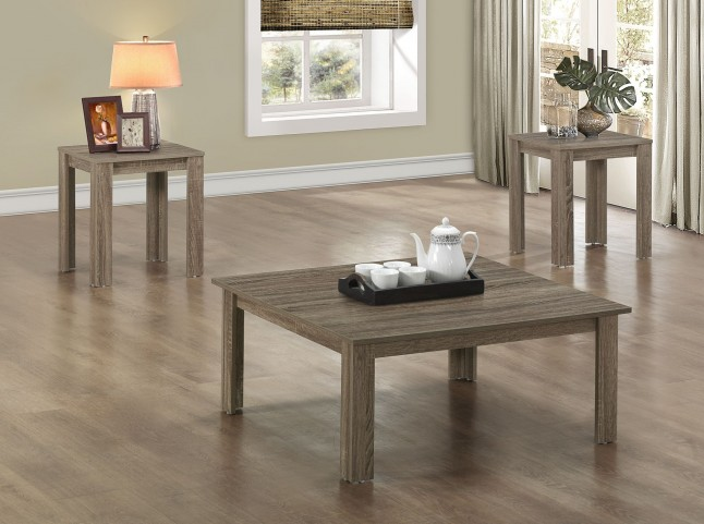 3 Piece Dark Taupe Reclaimed-Look Square Table Set
