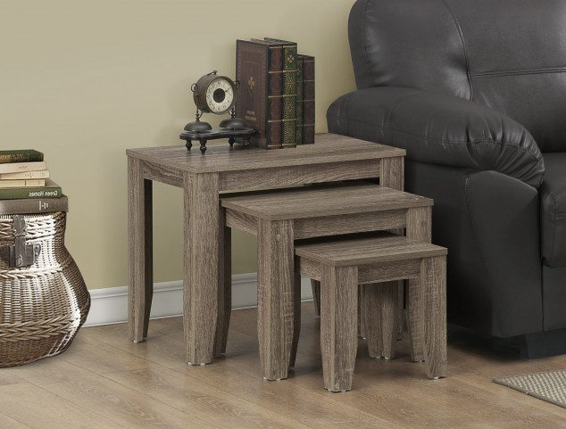 3 Piece Dark Taupe Reclaimed-Look Nesting Table Set