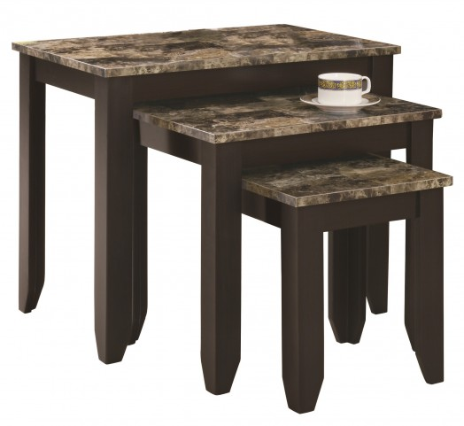 7982N Cappuccino / Marble Look Top 3Pcs Nesting Tables