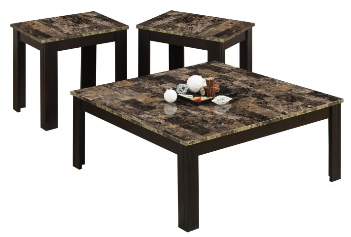 7986P Cappuccino Top 3 Piece Occasional Table Set