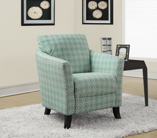 Faded Green Angled Kaleidoscope Fabric Accent Chair