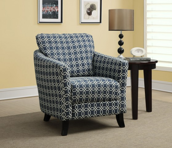 Dark Blue Angled Kaleidoscope Fabric Accent Chair