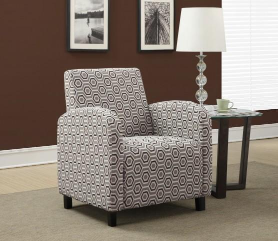 gray / Earth Tone Hexagon Fabric Accent Chair