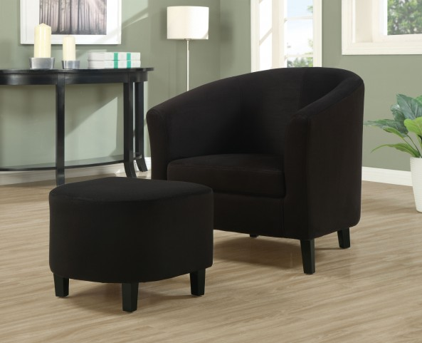 8055 Black Padded Microfibre Accent Chair and Ottoman