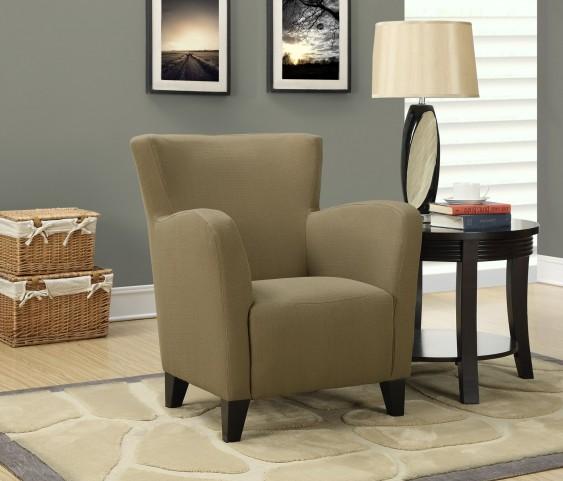 Brown Linen Fabric Club Chair