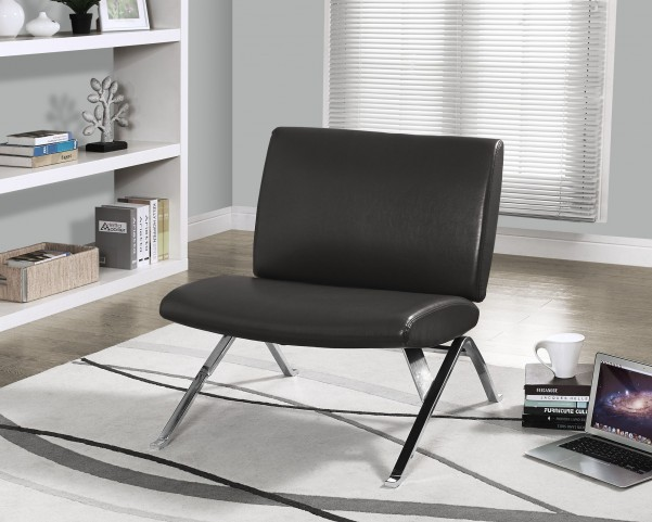 Charcoal gray Chrome Metal Accent Chair