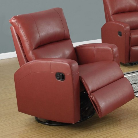 Red Bonded Leather Swivel Glider Recliner